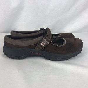 Merrell Womens 8 Mary Jane Brown Suede Shoes